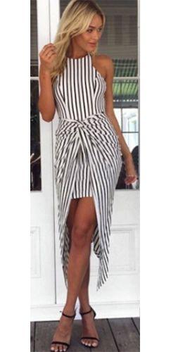 Vertical striped maxi dresses