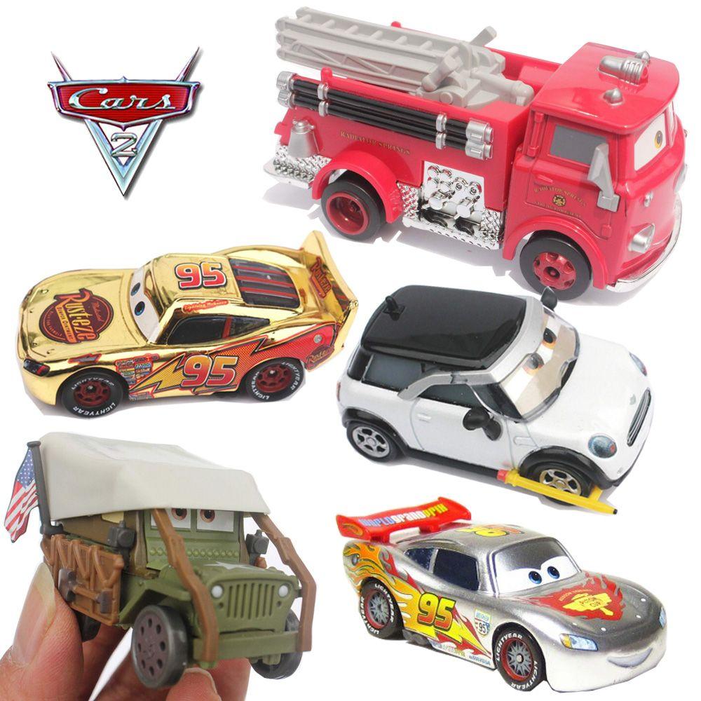 بيكسار سيارات 2 الأحمر عربة إطفاء فضة كروم دييكاست معدنية لعبة سيارة 1 48 لعبة السيارات للأطفال جمع الديكور الاطفال اللعب Toy Car Fire Trucks Pixar Cars