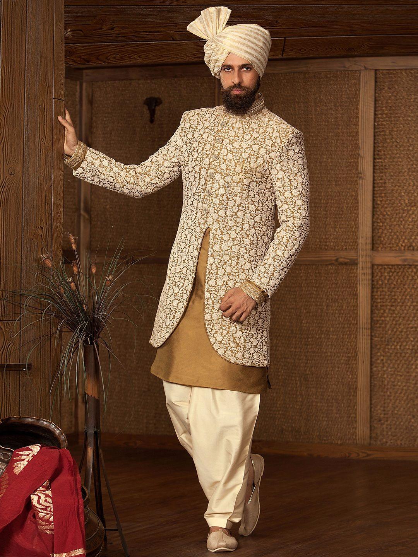 Beige raw silk embroidered double layred indo western sherwani