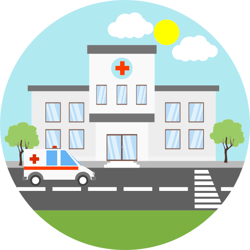 Hospital Building Flat Style Ambulance And Helicopter Health And Care Aid And Doctor Vector Il Hospital Architecture Building Illustration Cartoon Building