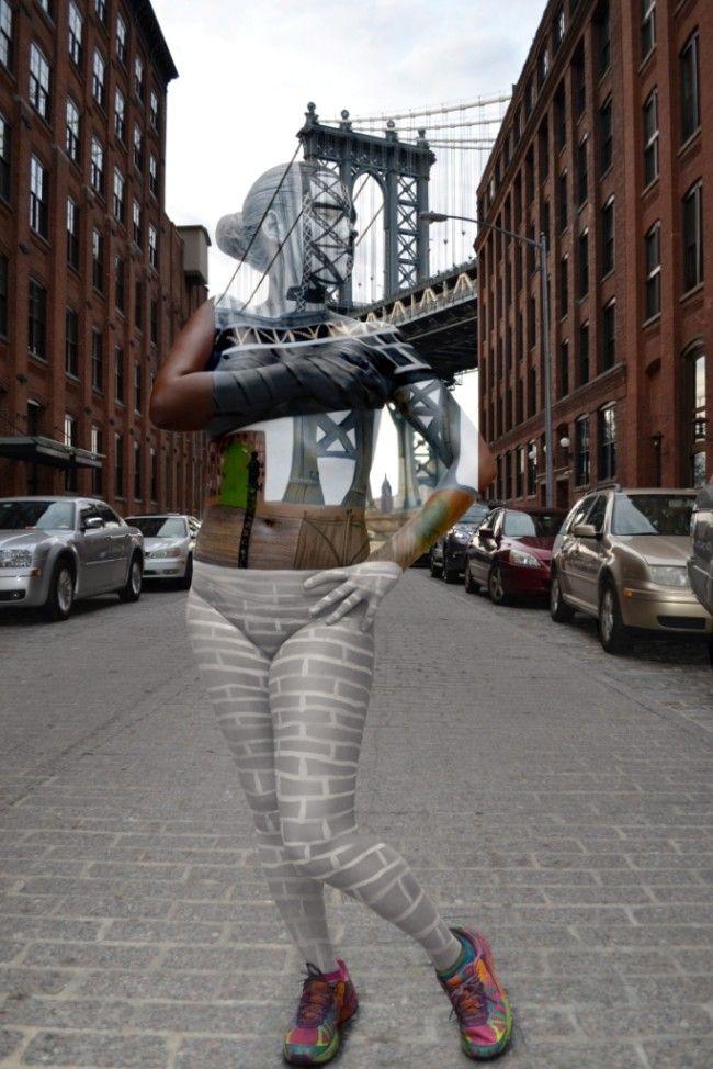 Manhattan Bridge Trina Merry Bodypaint Artist - New York City Camouflage