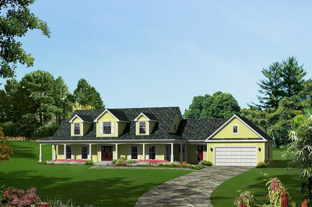 Country Style House Plan - 4 Beds 3.5 Baths 3782 Sq/Ft Plan #57-606 Front Elevation - Houseplans.com