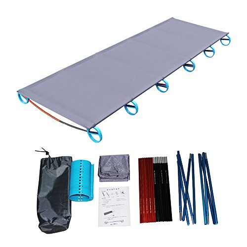 Outdoor Aluminium Alloy Framed Folding Camping Bed Travel Hiking Single Bed New