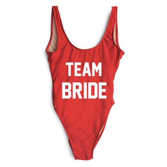 1be5a5d2248 Bride Squad Sexy 2017 One Piece Swimsuit Women Swinsuit High cut Bathing  Suit Monokini BodySuit Beach Bachelorette Jumpsuit