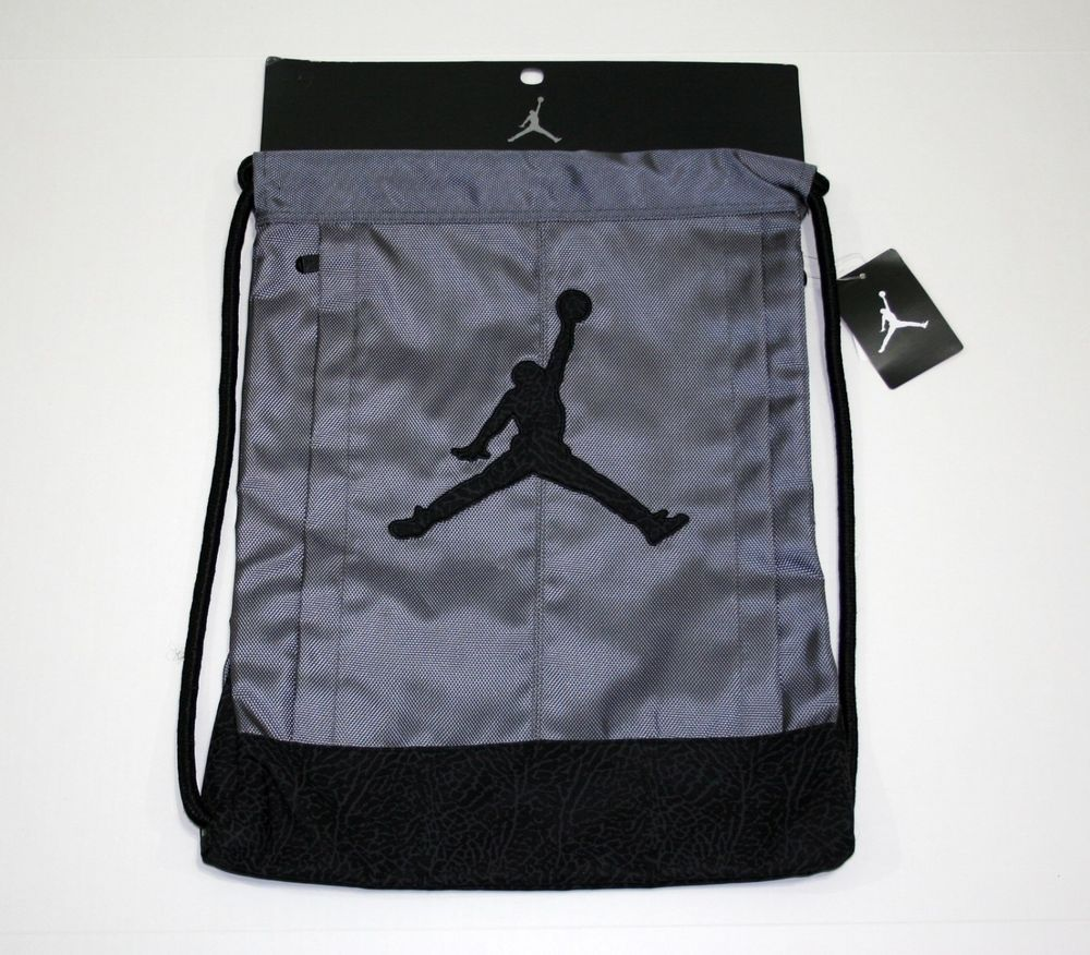 8820713303a4d3 Air Jordan Nike Jumpman Drawstring Backpack Black Gray Elephant Print  Nike   Backpack