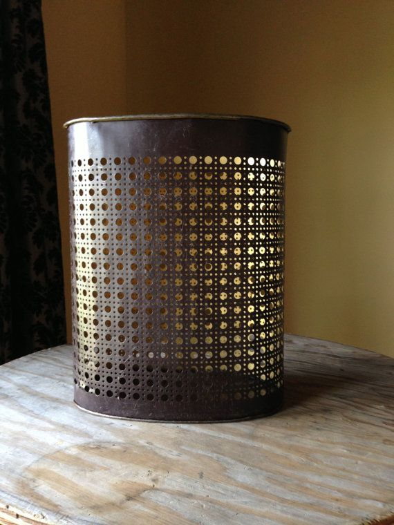 Vintage Trash Can Brown 1960s Metal Waste Basket Weibro Mid Century Punched  Industrial Cool Unique Home Office Workspace Decor
