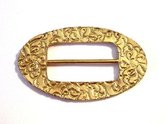 Large Vintage Scarf Buckle, Sash Buckle, Belt Buckle, Oval Shape, Gold Tone, 1970's, VisionsOfOlde
