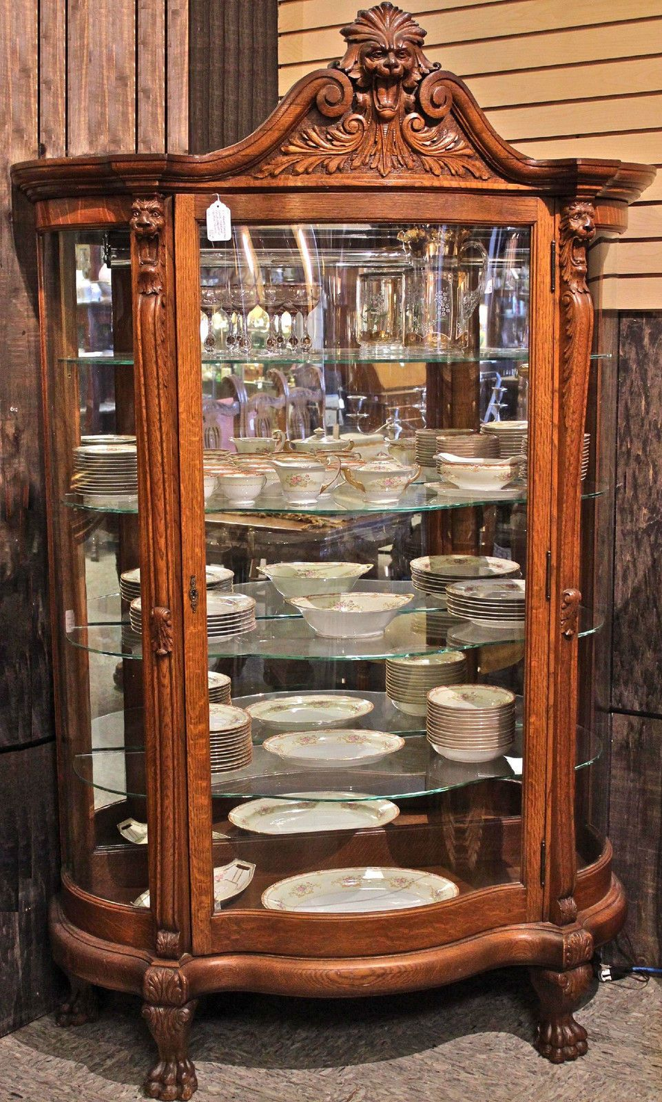 1890s Victorian RJ Horner Carved Tiger Oak Serpentine Glass China ...