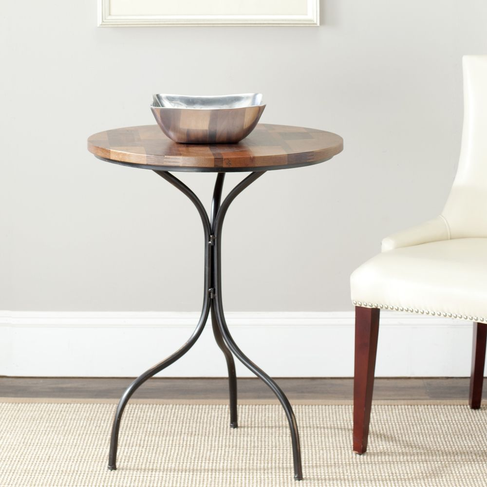 Safavieh vienne brown side table amha gold furniture outlet