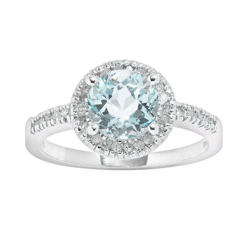 10k White Gold 16ct TW Diamond Blue Topaz Frame Ring from