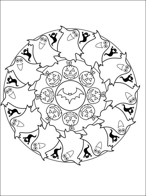 Coloring Mandalas Fruit Mandala Halloween Coloring Page Coloring
