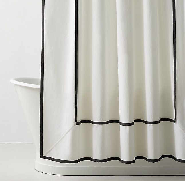 RH TEENu0026 Framed Faille Shower Curtain:As Crisp As Classic Hotel Linens. A  Contrast Colored Hem Stands Out Against White Cotton Faille And Lends Our  Shower ...