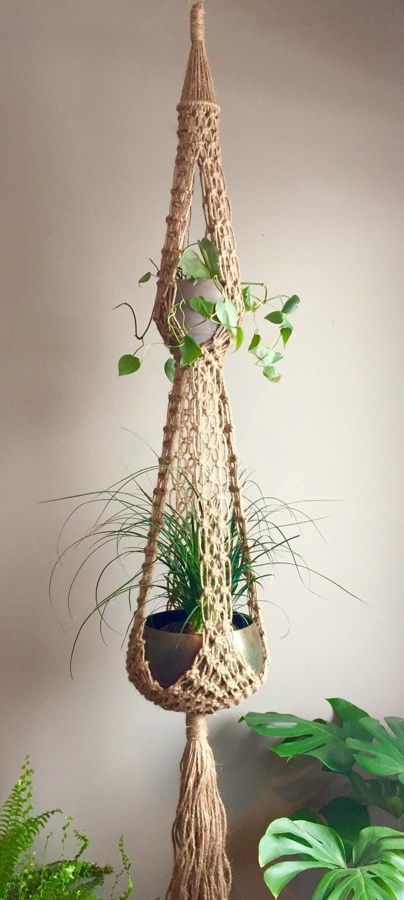 WONDERFUL NEW BOHEMIAN DOUBLE MACRAME PLANT HANGER //DREAM CATCHER TAPESTRY