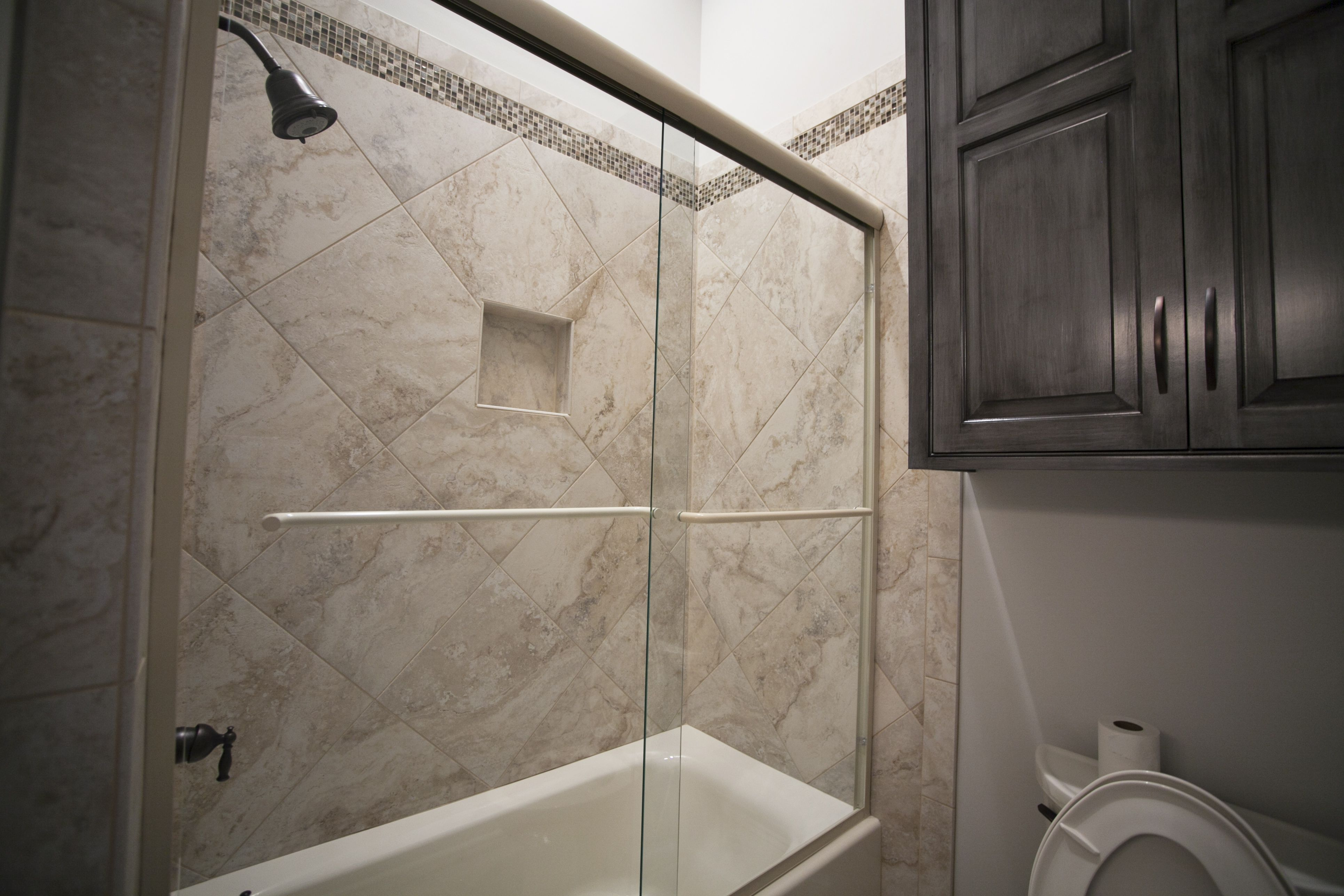Custom Shower With 18x18 Tile Glass Mosaics Small Bathroom Small Toilet Complete Bathrooms