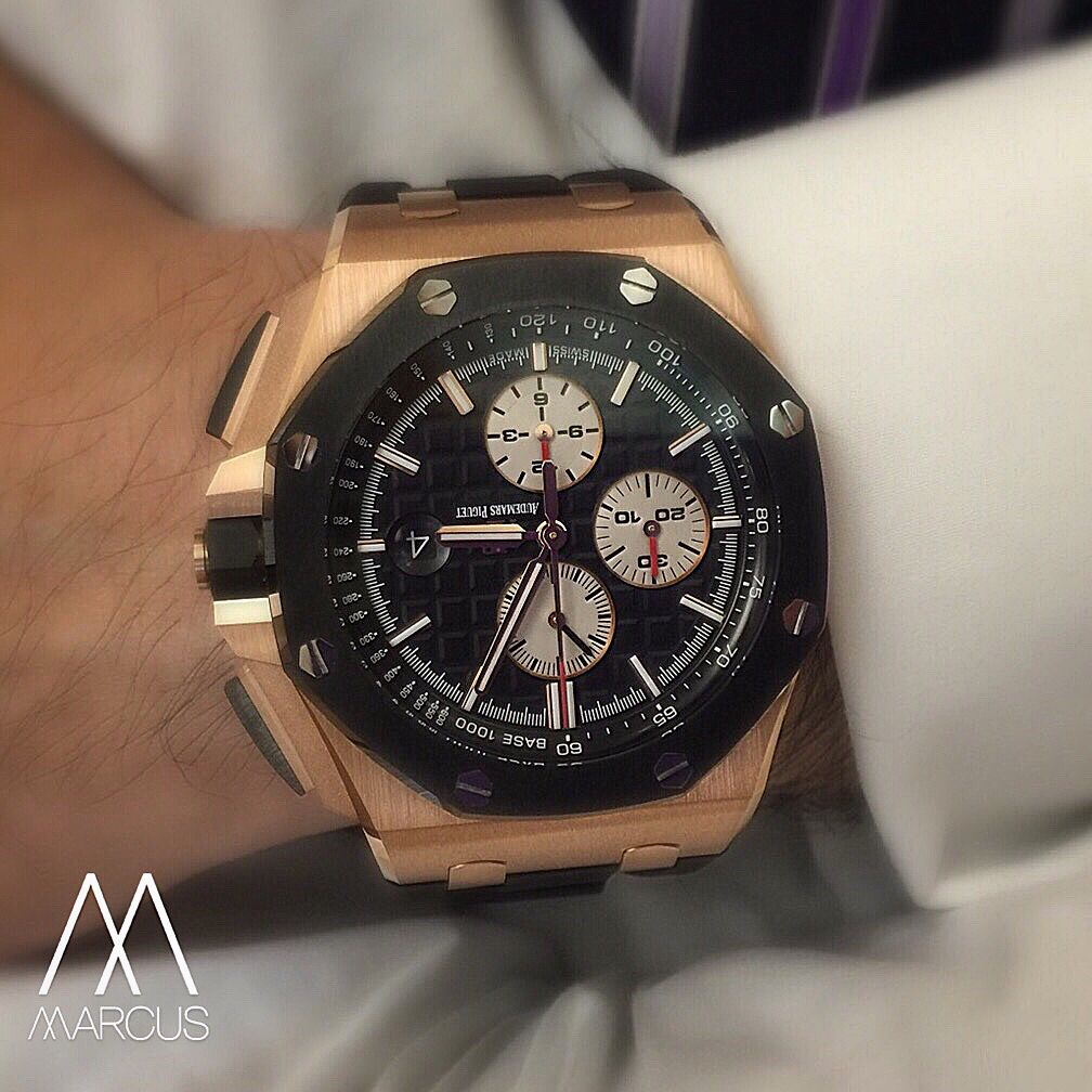 Mmmmmmm the audemars piguet 44mm royal oak offshore in rose gold with ceramic bezel watches for Royal oak offshore ceramic
