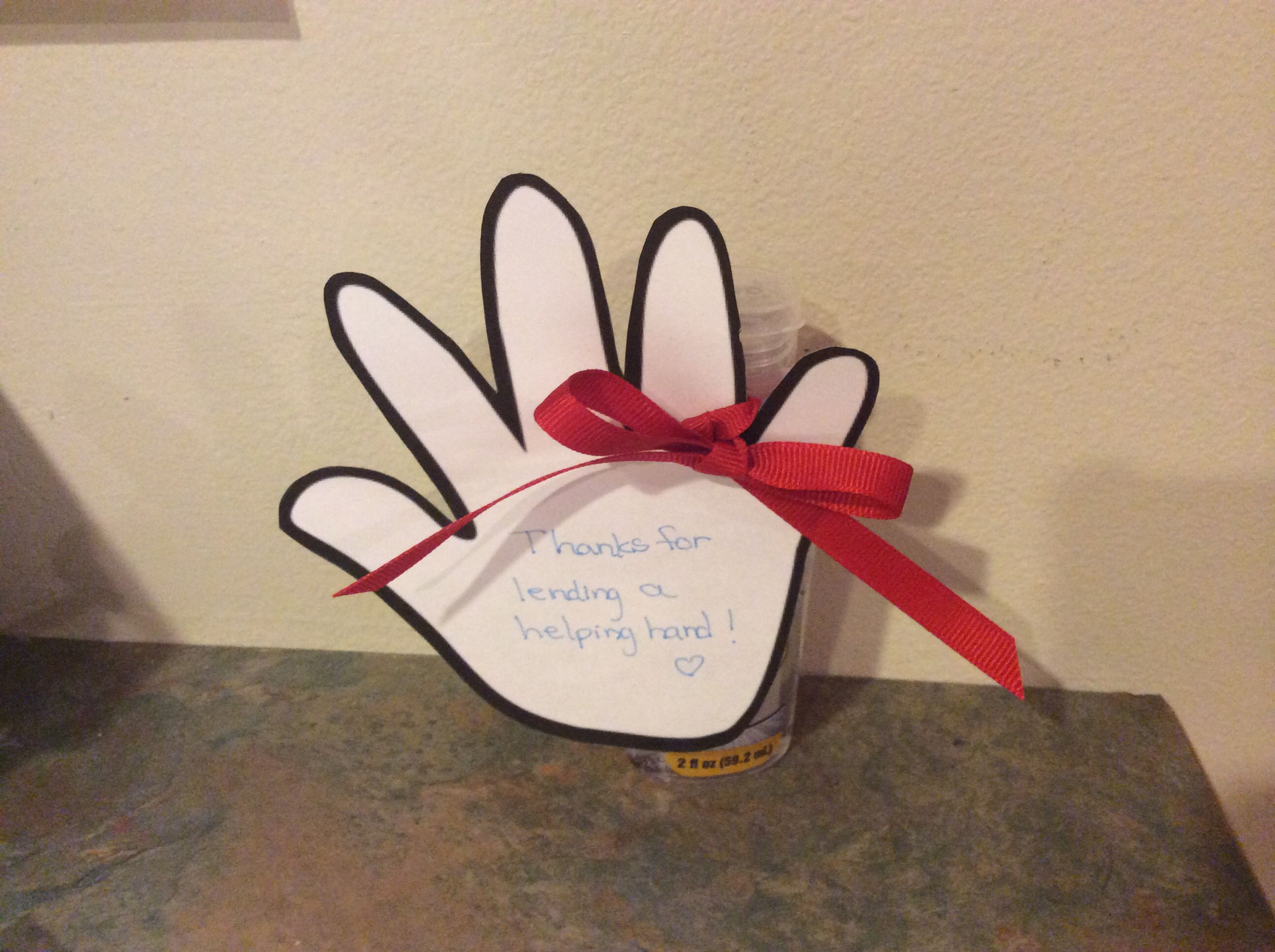 Volunteer Appreciation Gift Idea Hand Sanitizer With Hand Print