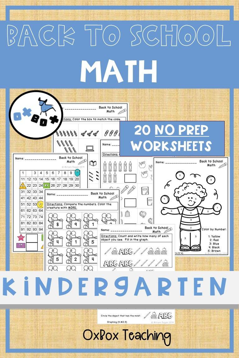 Back To School Math Worksheets Kindergarten By Oxbox Teachers Pay Teachers Kindergarten Math Worksheets Kindergarten Worksheets Math Worksheets [ 1152 x 768 Pixel ]