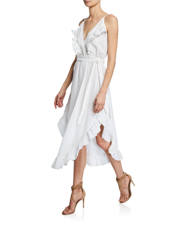 Iro lemon vneck ruffle linen dress w belt dresses