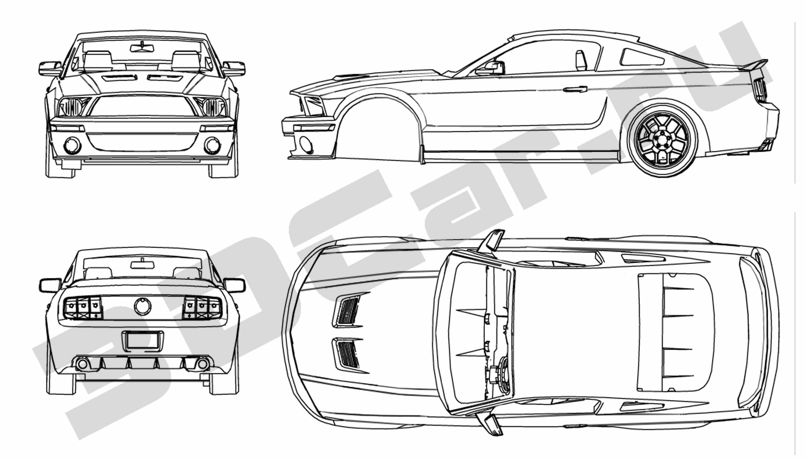 Blueprint Of A Ford Mustang Ford Mustang Mustang Ford