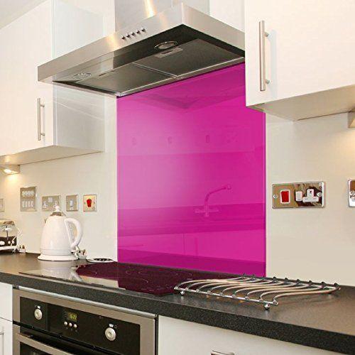 Toughtened Pink tempered Glass Surface Kitchen Cooker Hob Splash ...