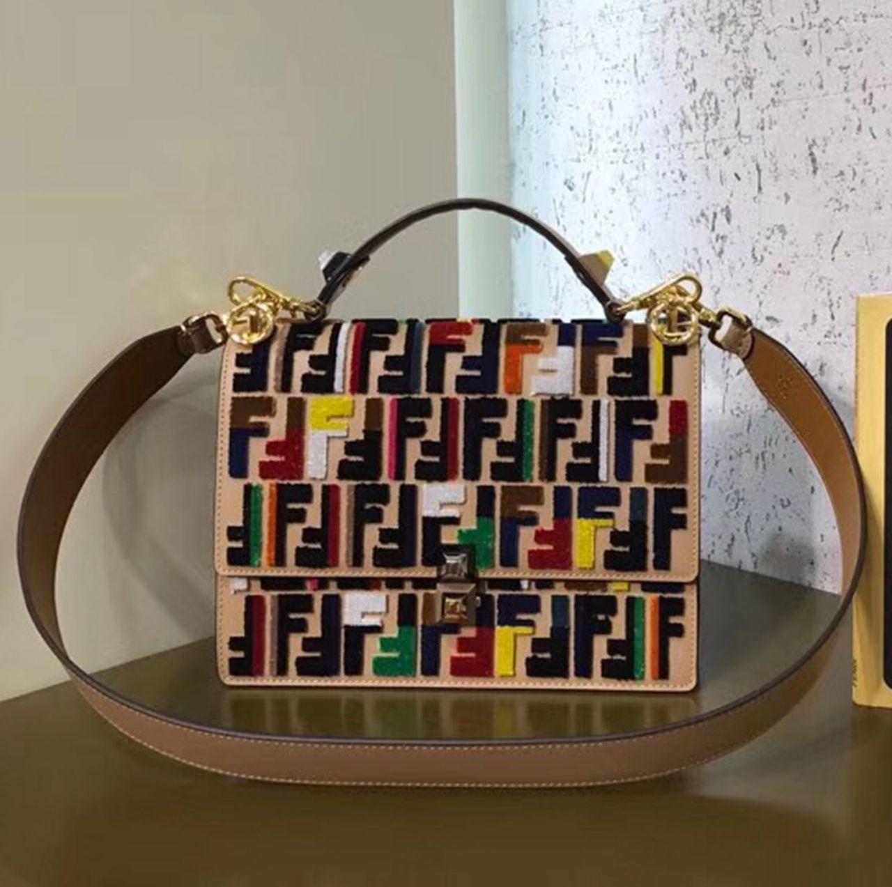 ba5eea92 Fendi Kan I Medium Leather Bag With Texture Woven Work FF Pattern ...