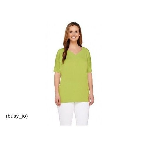 Susan Graver Liquid Knit Top Batwing Sleeve Curved V-Neck Lime Small  New #SusanGraver #KnitTop #Casual