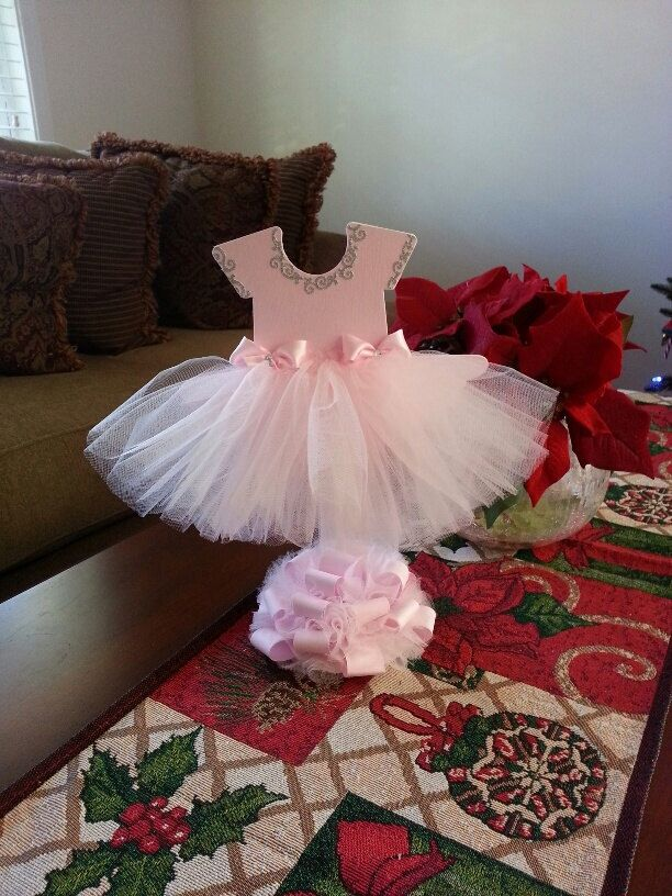 Pink tutu dress centerpiece ballerina baby shower