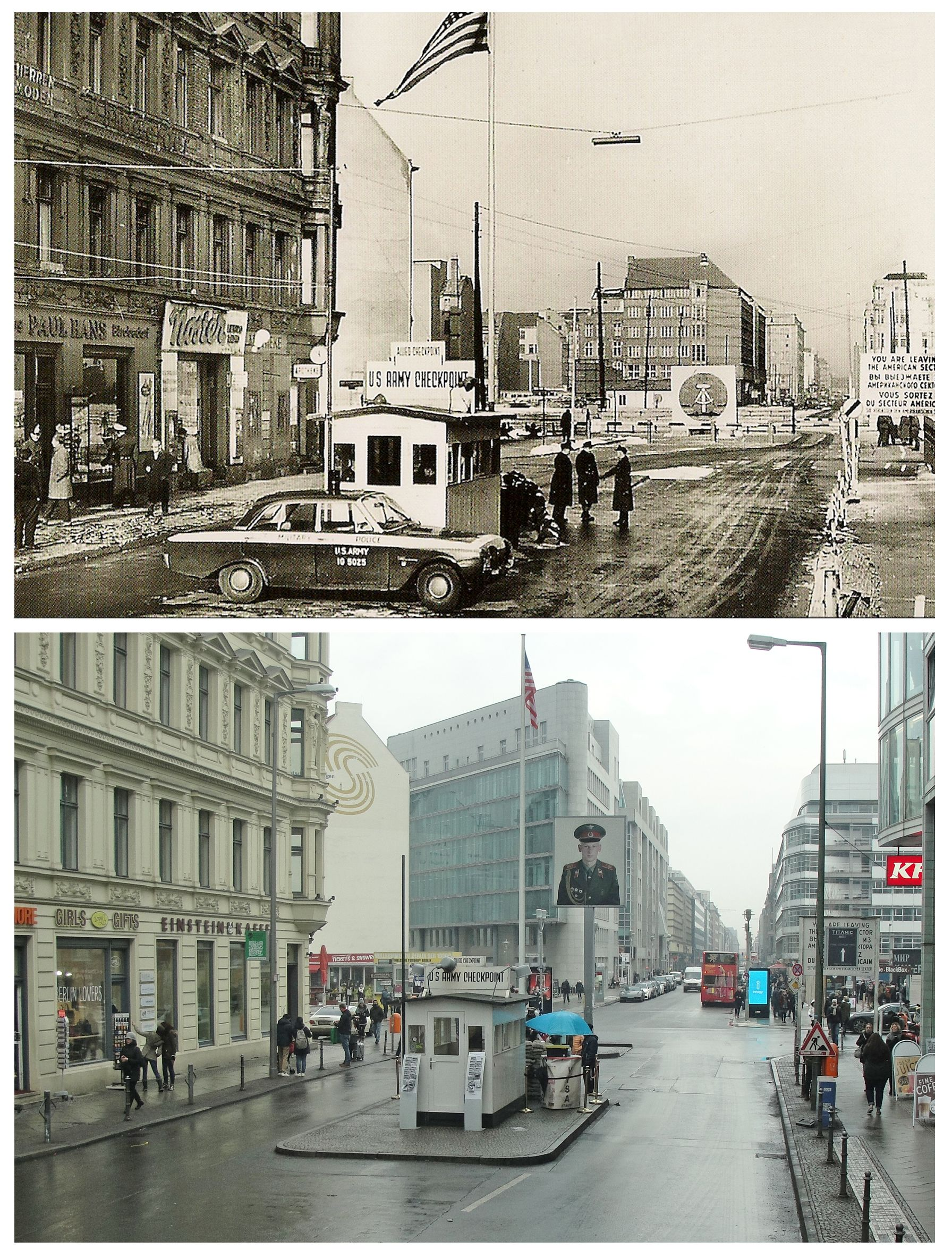 Checkpoint Charlie, then and now. | Muro de berlín, Caida del muro ...