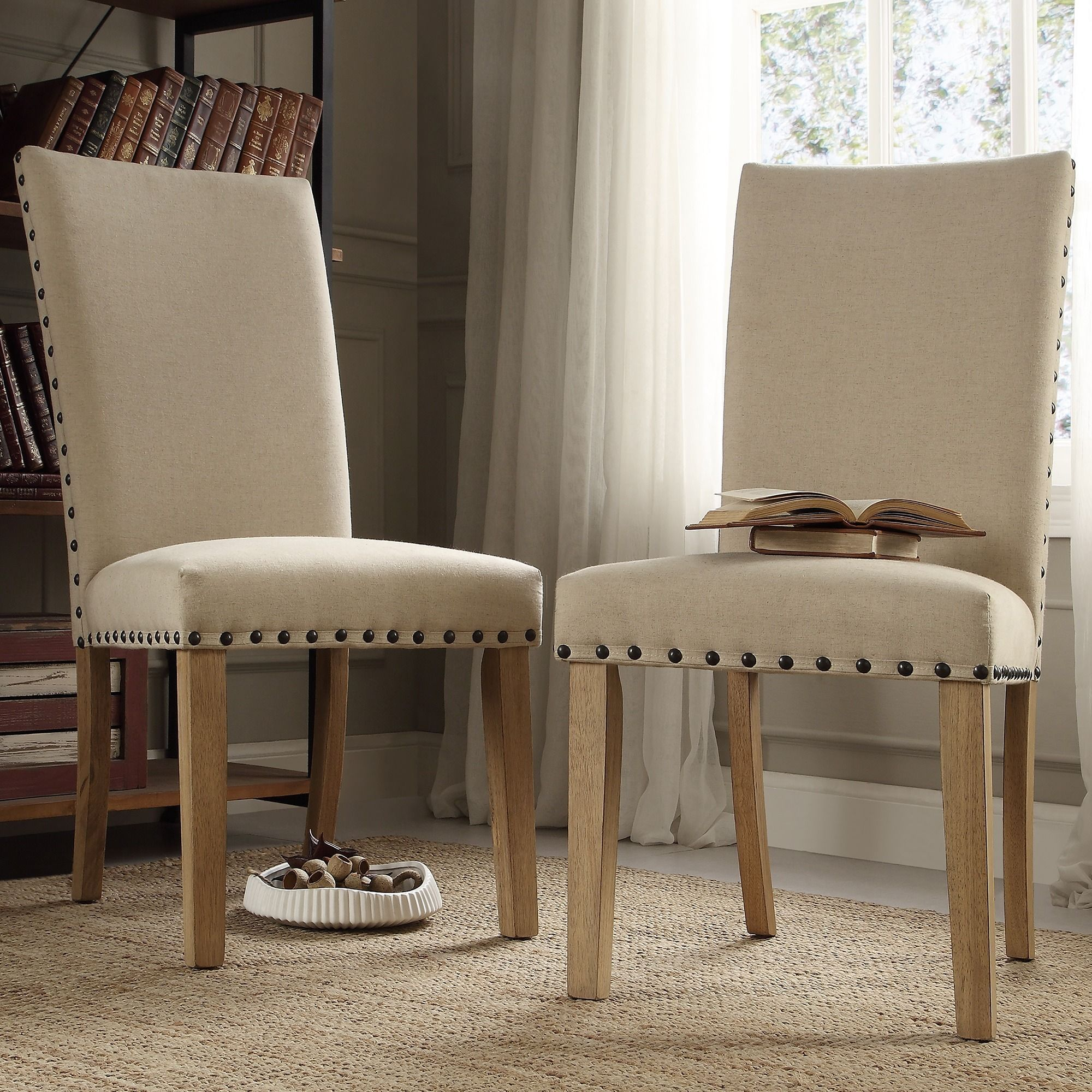 Exceptionnel INSPIRE Q Aberdeen Beige Upholstered Nail Head Parson Chair (Set Of 2)    Overstock™ Shopping   Great Deals On INSPIRE Q Dining Chairs