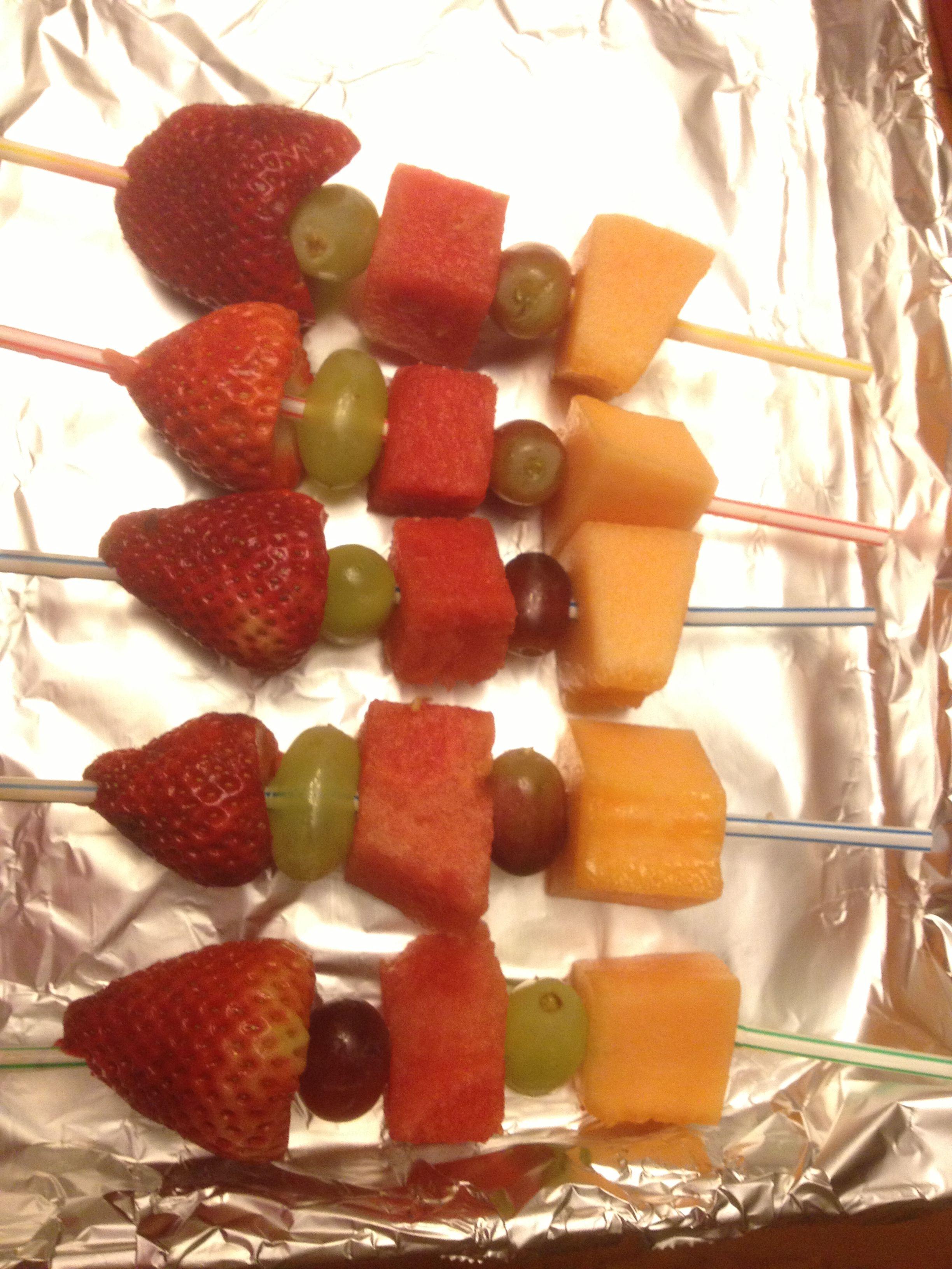 Safe Fruit Kebabs For Kid S School Parties Use Straws Instead Of Skewers Fruit Kebabs Kids Party Food Kids Meals