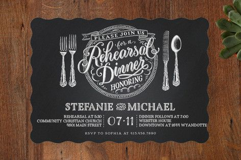 """""""Chalkboard Place Setting"""" - Formal Rehearsal Dinner Invitations in Chalkboard by Laura Bolter Design."""