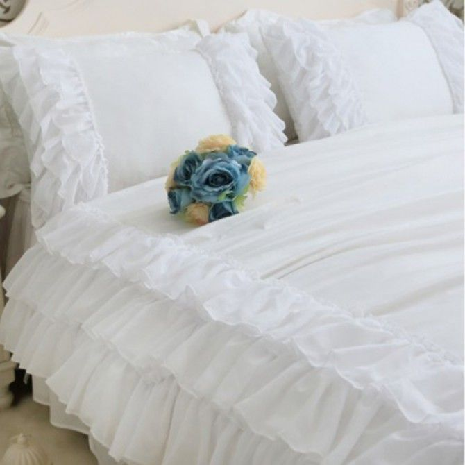 Share this page with others and get 10% off! White Triple Chiffon Ruffle Pillow Sham