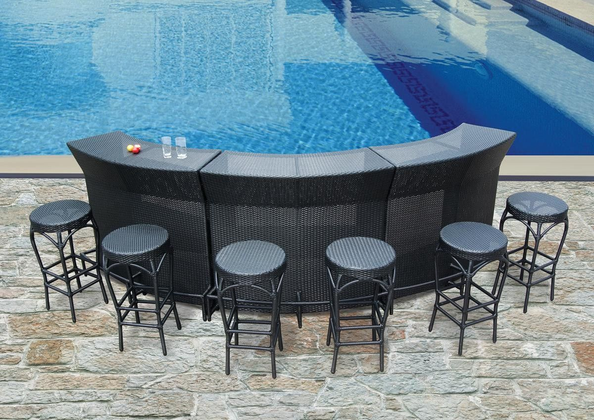 Awesome Backyard Patio Ideas : Patio Furniture Glamorous Outdoor Patio Bar  Furniture Sets On Half Circle Shape And A Set Of Counter Height Backless  Stools With ...