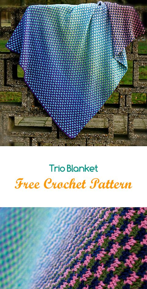 Trio Blanket Free Crochet Pattern Crochet Crafts Yarn Style