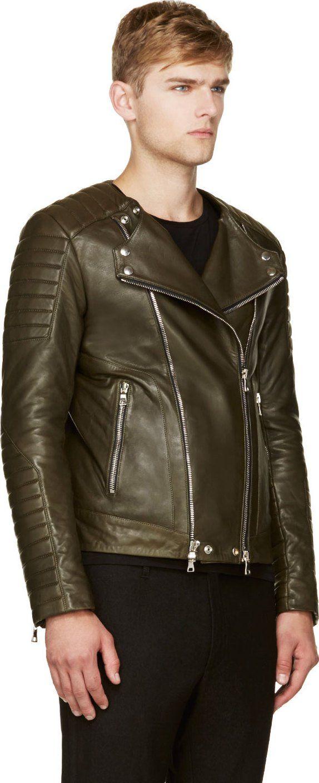 Balmain Olive Green Leather Classic Biker Jacket Green Leather Jackets Biker Jacket [ 1408 x 574 Pixel ]
