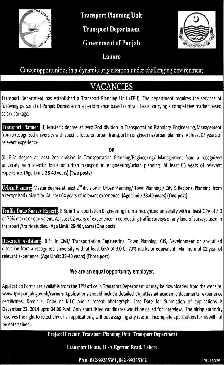 Transport Department Government of Punjab Career