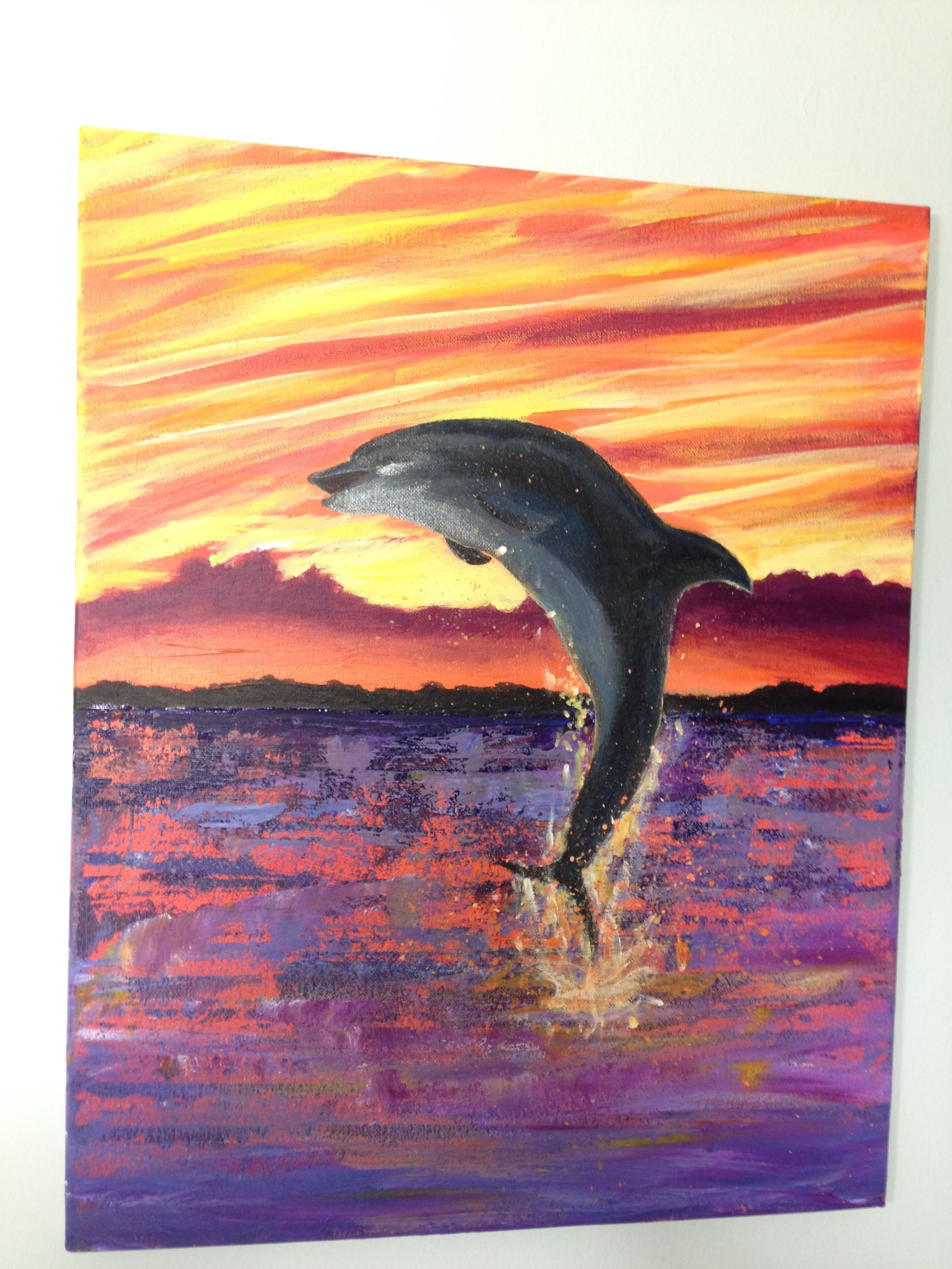 Dolphin at Sunrise Indian River Lagoon acrylic painting on canvas 16x20 inches by Vicky Lada in Beve Bruffey class.