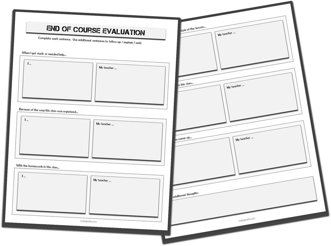 End Of Course Student Evaluation Form  Tools For Teaching Teens