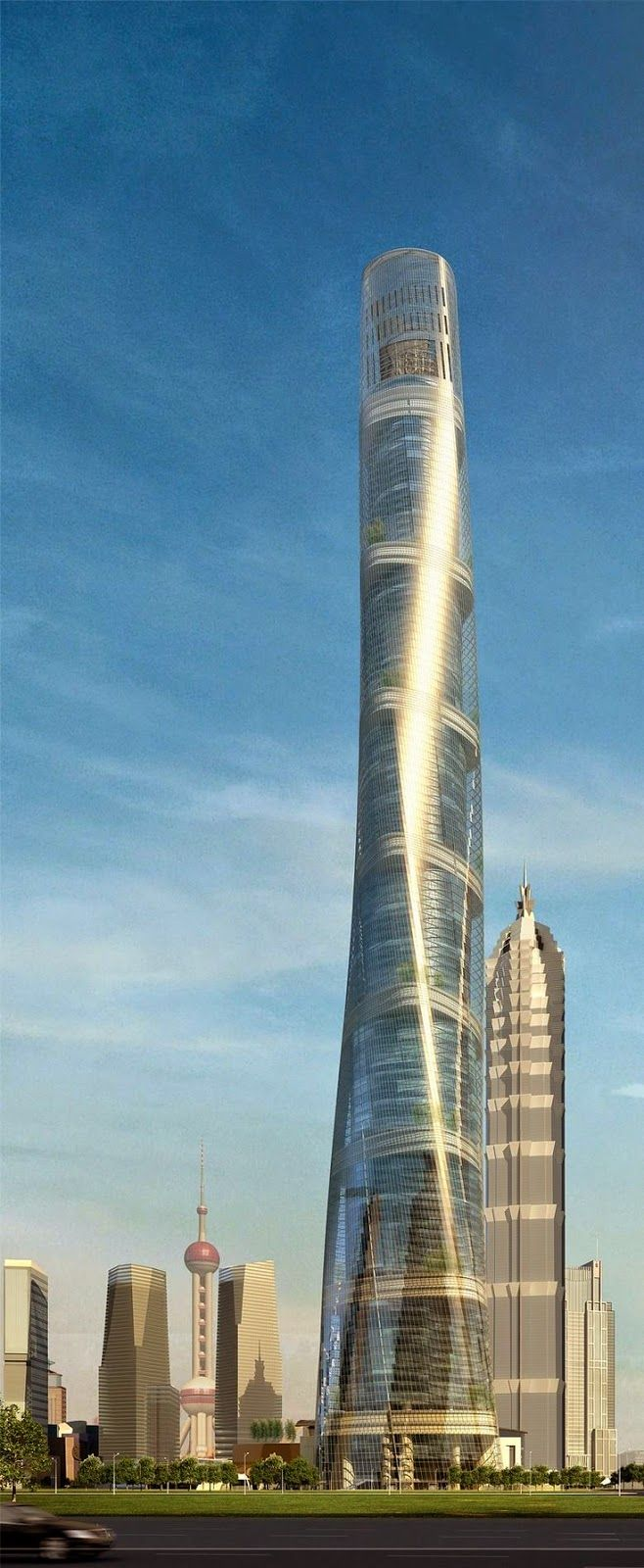At 2 073 Feet Gensler S Shanghai Tower Will Be The Tallest Building In China And The Second Skyscraper Architecture China Architecture Futuristic Architecture