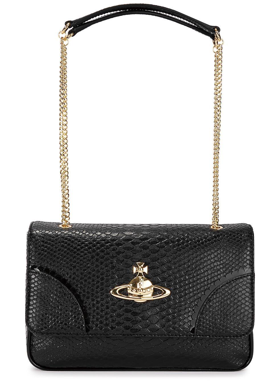 d2b76ff5 Vivienne Westwood black faux leather shoulder bag Two chain ...