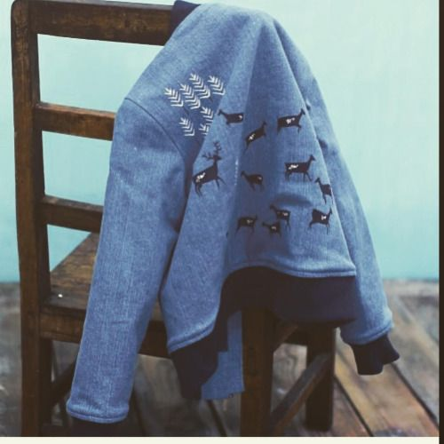 My little jacket I designed for @milkandbiscuitcrumbs #illustration #pattern #childrensfashion
