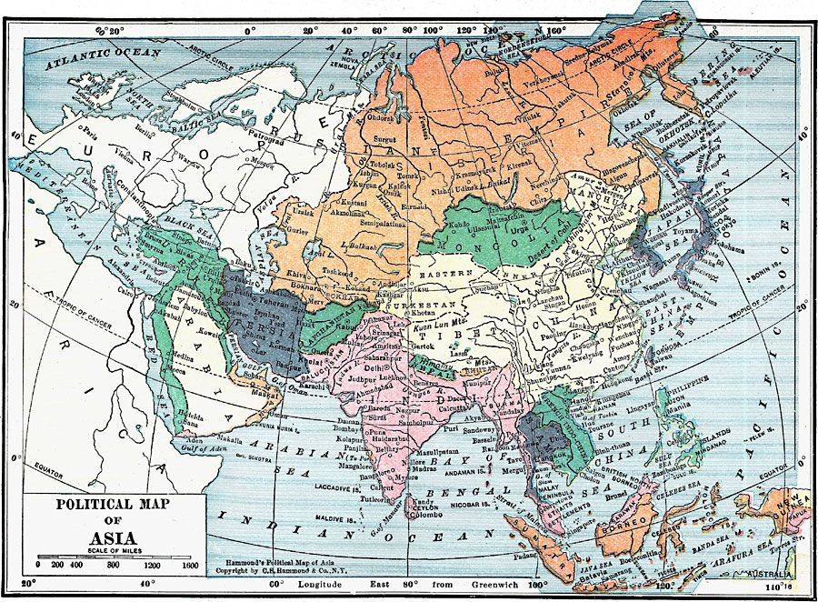 Political Map of Asia 1919 History