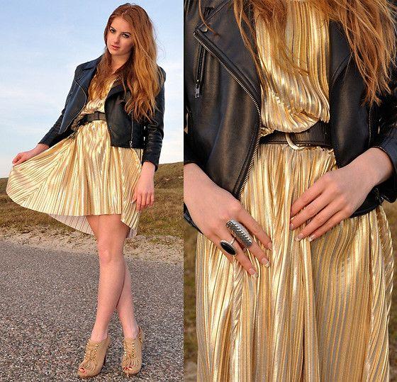 Lara Rose Roskam H M Gold Dress Champagne Gold Fashion Style My Style