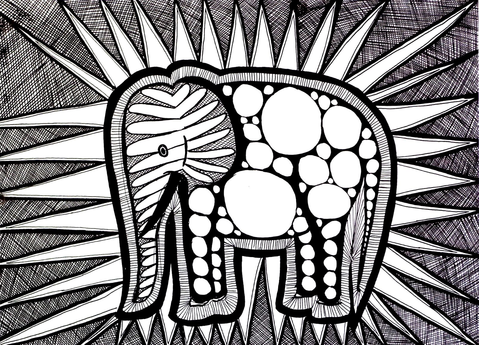 Coloring Pages Animals Zoo : Coloriage difficile elephant zoo pinterest adult coloring