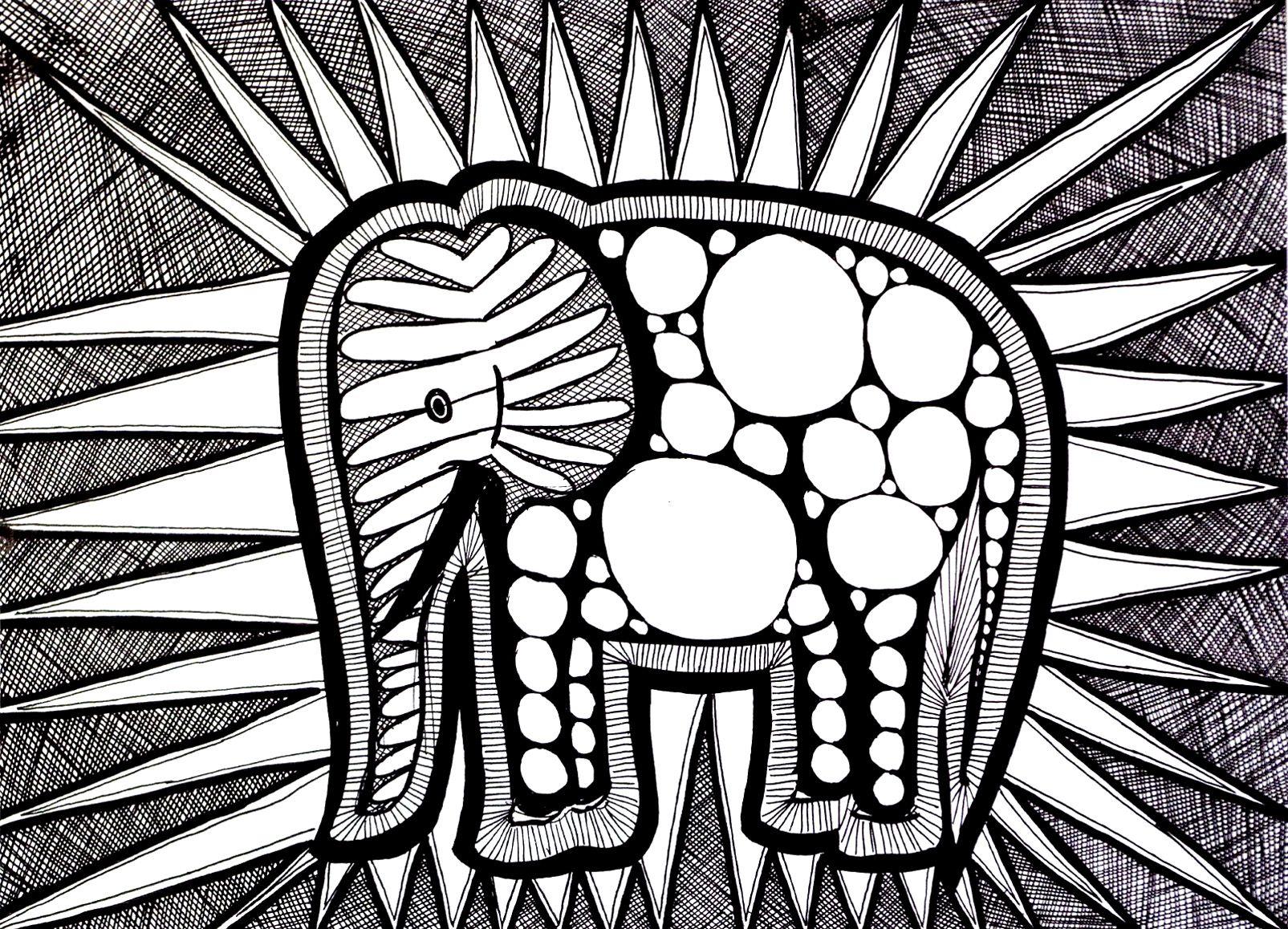 coloriage-difficile-elephant  Coloriage difficile, Coloriage
