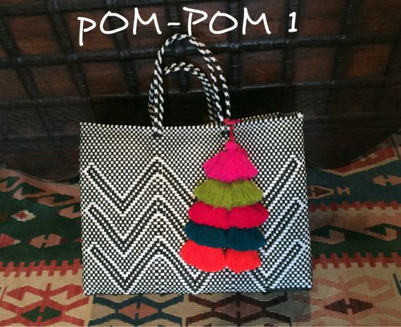 Large Oaxaca Tote Market Bag Beach Summer Plastic Woven Mexican Style Oaxacan At The