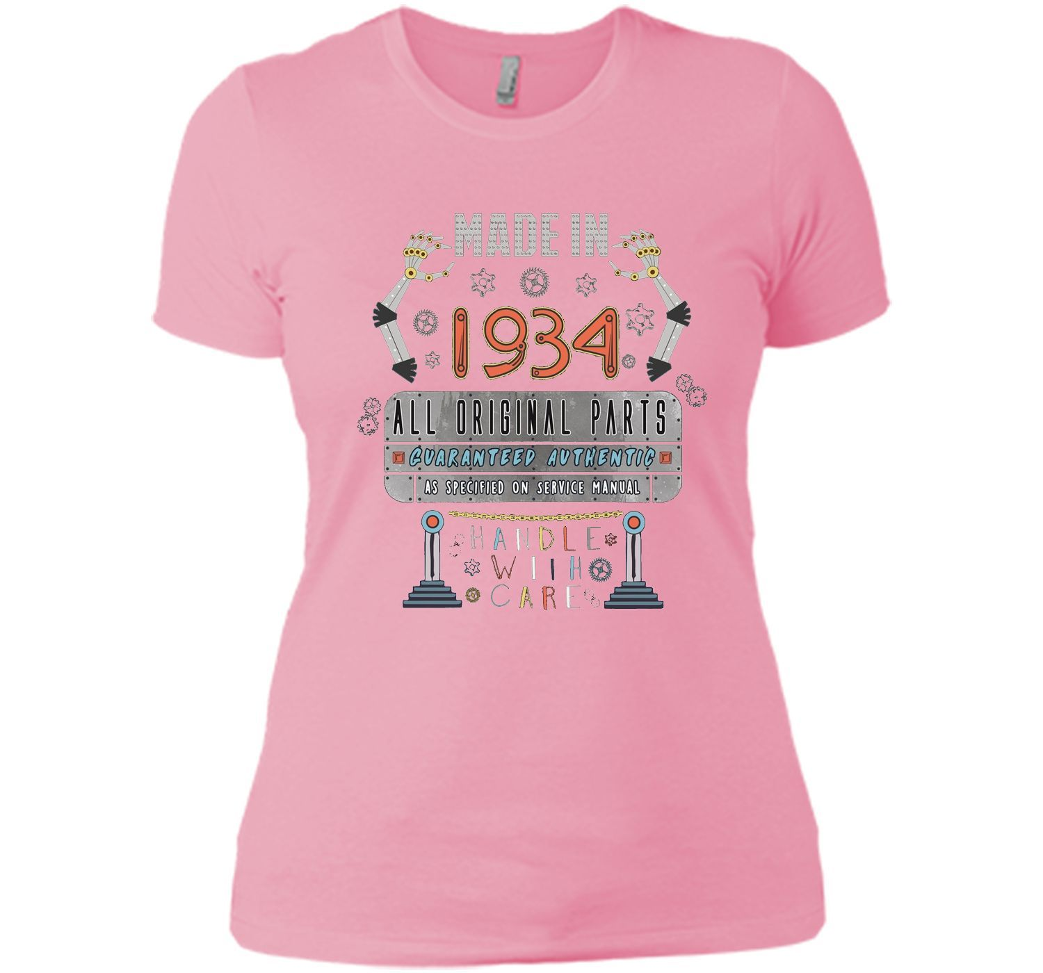 Made In 1934 Robot 82nd Birthday 82 Years Old Gift Tee Shirt
