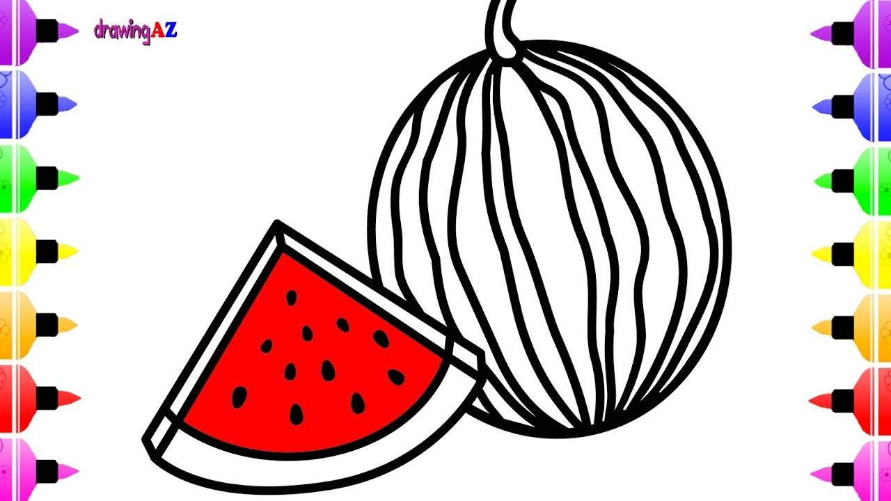 How to Draw Watermelon for Kids | Coloring Pages for Kids with ...