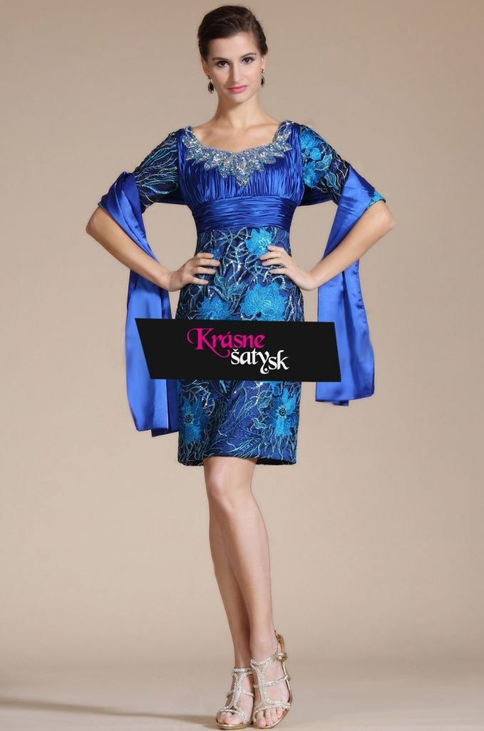 44669937b061 Modré luxusné vyšívané šaty S00436 krátke spoločenské šaty modra - 0 ...
