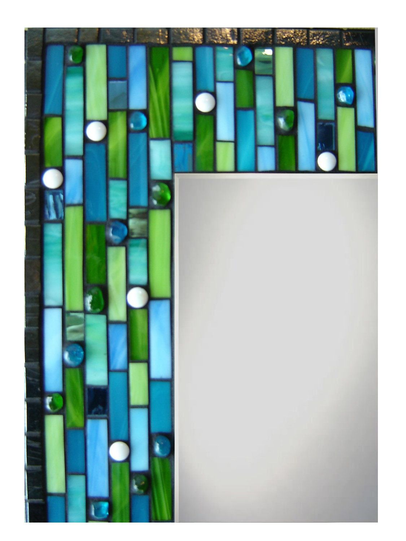 Mosaico de espejo de la pared - Aqua, cobalto, verde